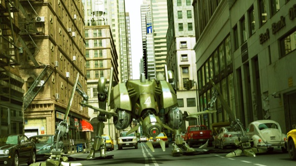 A photorealistic 3D robot and city scene rendered in real-time. (AMD; Business Wire)
