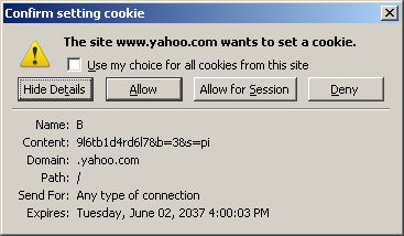 Confirm setting cookie dialog box
