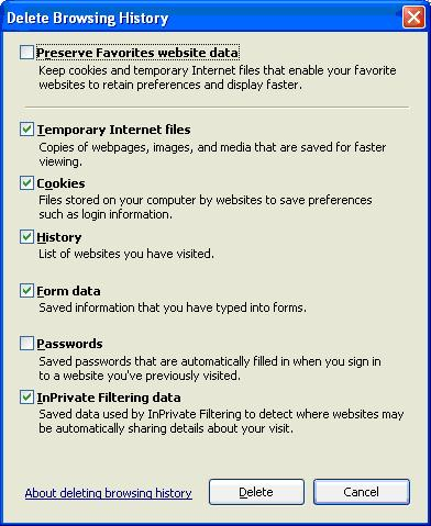 IE8 Delete Browsing History