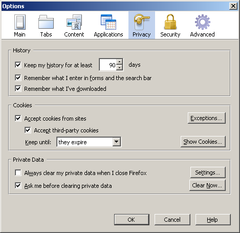 Options dialog box