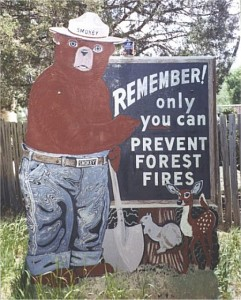 Smokey the Bear with sign