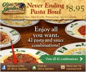 Facebok Olive Garden Ad