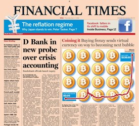 Bitcoin on front page of the Financial Times